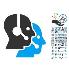 Call Center Operators Icon With 2017 Year Bonus vector