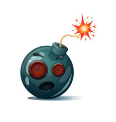 Cartoon bomb fuse wick spark icon sewing vector