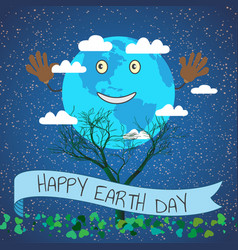 Cartoon for earth day planet vector