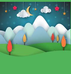 Cartoon paper landscape moon cloud star tree vector