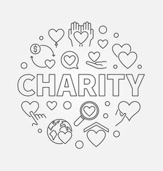 Charity round - circular line vector