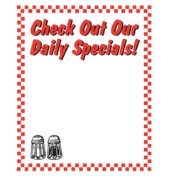 Check out our daily specials vector image