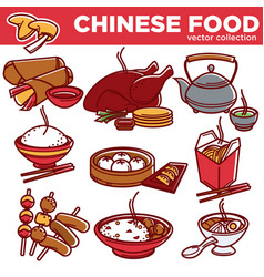 chinese cuisine food dishes flat icons set vector image