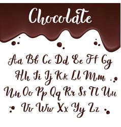 chocolate alphabet calligraphic delicious letters vector image