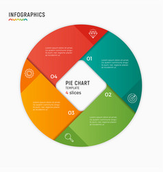 Circle chart infographic template 4 vector