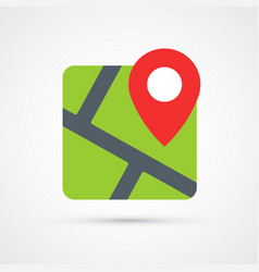 colored map with pin trendy symbol vector image
