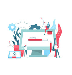composition with giant computer display and tablet vector image