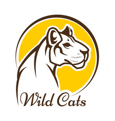 cougar mascot silhouette wild cat panther sign vector image