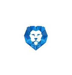creative geometric blue lion head logo vector image