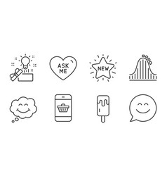 Creative idea ask me and roller coaster icons set vector