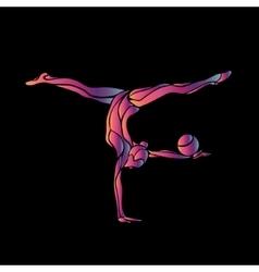 Creative silhouette gymnastic girl art vector