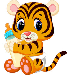 Cute baby tiger vector