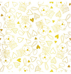 cute bunny rabbit seamless pattern vector image