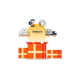 Delivery logistics serveces icons set move boxes vector image