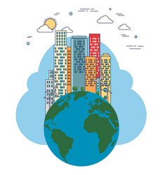 ecology green city with earth planet vector image