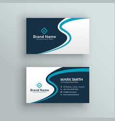 Elegant blue wave business card design vector