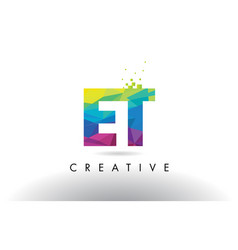Et e t colorful letter origami triangles design vector