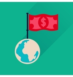 Flat icon with long shadow Earth money vector