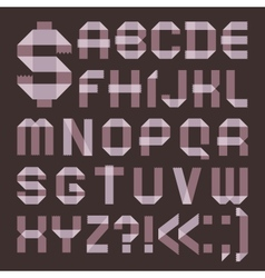 Font from lilac scotch tape - Roman alphabet vector image