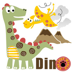 Funny dinosaurs on volcanoes background kids t vector