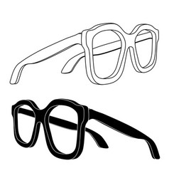 glasses black and white flat outline drawing vector image