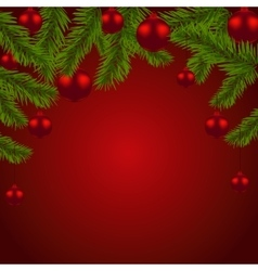 Green fir branches with red balls Christmas vector