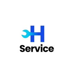 h letter wrench service logo icon vector image