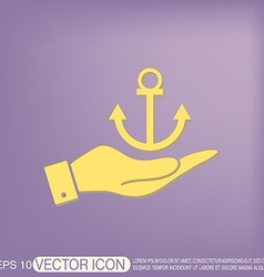 Hand holding a Nautical Anchor anchor seafaring vector