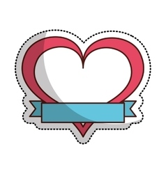 heart love drawing with ribbon icon vector image