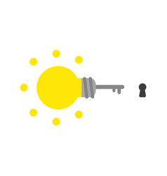 Icon concept of glowing light bulb key with vector