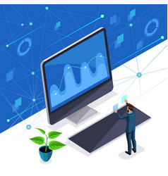 isometric man businessman manages a virtual screen vector image