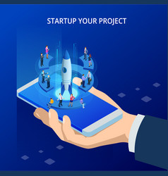 isometric online businnes start up for web page vector image