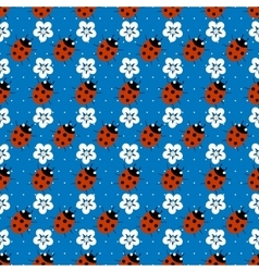 Ladybugs with flowers seamless pattern vector