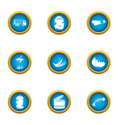 Landfill icons set flat style vector