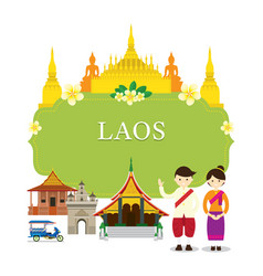 Laos landmarks people in traditional clothing vector