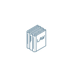 Law book justice isometric icon 3d line art vector