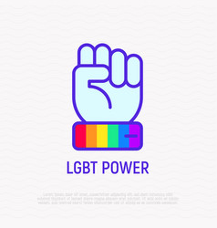 lgbt power line icon hand with rainbow wristband vector image