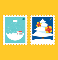 merry christmas and happy new year postage stamp vector image