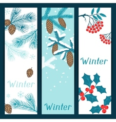 Merry Christmas banners with stylized winter vector