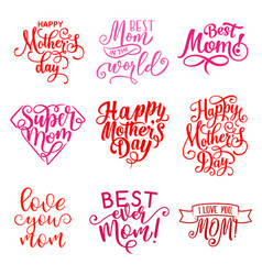 Mother day holiday greeting text icons vector