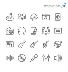 music line icons editable stroke pixel perfect vector image
