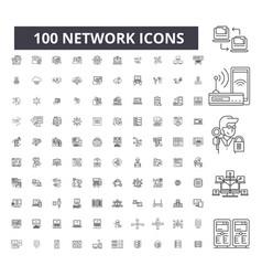 network editable line icons 100 set vector image