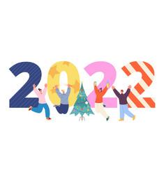 new year 2022 celebrating people celebrate happy vector image