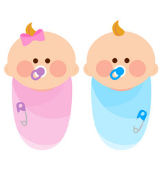 Newborn baby girl and boy wrapped in cloth vector