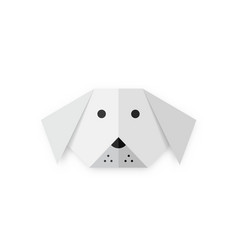 origami folded paper dog animal shape white paper vector image