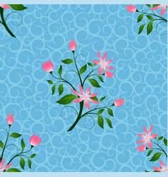 pink flowers seamless pattern in blue background vector image