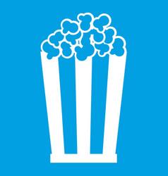 popcorn in striped bucket icon white vector image