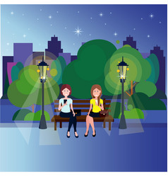 public night park couple woman sitting wooden vector image