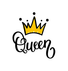 Queen crown calligraphy design vector