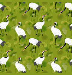 seamless pattern with japanese cranes floral vector image
